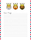 Letter to Magi with letterhead. Three Wise Men illustrated in letterhead of Dear Magi letter on lined paper Stock Photo