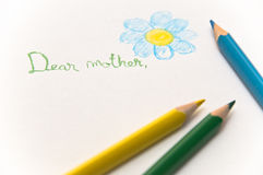 Letter to mother with multi-colored drawings. (three pencils Stock Photo