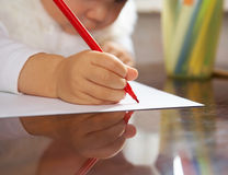 Letter to Santa. Small child writes the letter to Santa Stock Photography