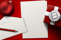 A letter to Santa. Red christmas background with envelope, paper, gift and christmas ball royalty free illustration