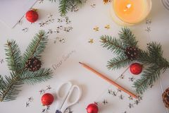 A Letter to Santa. Christmas decoration,writing an letter to Santa Claus Stock Photography