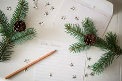 A Letter to Santa. Christmas decoration,writing an letter to Santa Claus Stock Image