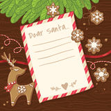 Letter to Santa Claus. Christmas card with gingerbread cookies. Royalty Free Stock Images