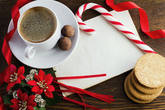 Letter to Santa Claus. Coffee, and Christmas decorations Royalty Free Stock Photos