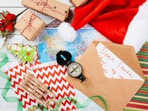 Letter to Santa Claus and compass and map royalty free stock image