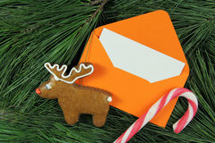 Letter to Santa Claus, envelope on fir tree Stock Photos