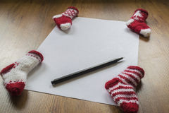A letter to Santa Claus. With knitted stocking Stock Photo