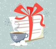 A letter to Santa Claus tied with a ribbon with a hot mug of drink on the background of snow and snowflakes. Flat style illustrati stock illustration