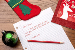 Letter to Santa and decorations. Royalty Free Stock Photo