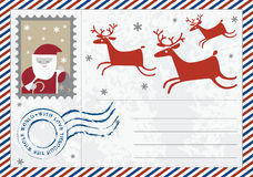 Letter to Santa  post card  illustration Royalty Free Stock Photos