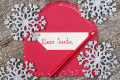 Letter to Santa in a red envelope Royalty Free Stock Image
