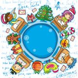 Letter to Santa series 2. Christmas holiday composition: Happy children writing letters to Santa. place for your own text Stock Photos