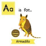 A letter tracing. Armadillo. Stock Photo