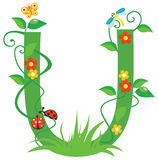 Letter U. Letter with flowers for design stock illustration