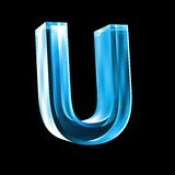 Letter U in blue glass 3D Royalty Free Stock Images