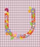 The letter U Bright floral element of colorful alphabet in  Stock Image