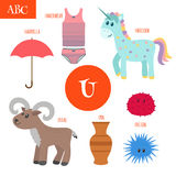 Letter U. Cartoon alphabet for children. Unicorn, umbrella, urn, Royalty Free Stock Image