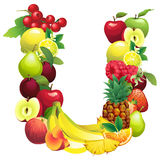 Letter U composed of different fruits with leaves Royalty Free Stock Image