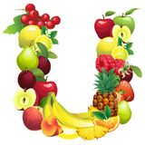 Letter U composed of different fruits with leaves Royalty Free Stock Photo