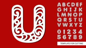 Letter U. Full English Alphabet And Digits 0, 1, 2, 3, 4, 5, 6, 7, 8, 9. Royalty Free Stock Photo