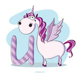 Letter U with funny Unicorn Stock Photo