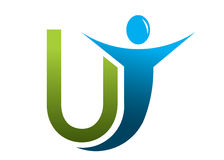 Letter U logo man Stock Photography
