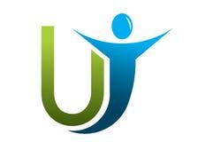 Letter U logo man. Letter U logo with man and letter royalty free illustration