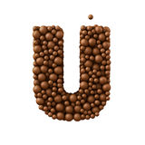 Letter U made of chocolate bubbles, milk chocolate concept, 3d illustration.  royalty free illustration