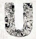 Newspaper letter U  confetti Royalty Free Stock Photography