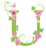 Letter U with roses Stock Photography