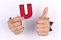 Letter U with thumb up sign Stock Photos