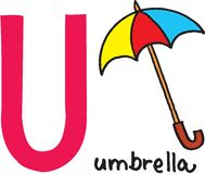 Letter U - umbrella Stock Photos