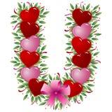 Letter U - Valentine letter. Letter U - with heart, bow, ribbon and leaf stock illustration