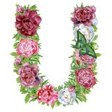 Letter U of watercolor flowers stock illustration