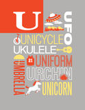 Letter U words typography illustration alphabet poster design royalty free illustration