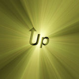 Word Up arrow sign light flare Royalty Free Stock Image