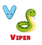 Letter V. Alphabet for children. Page with the letter V Royalty Free Stock Image