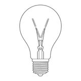 The letter V, in the alphabet Incandescent light bulb set. Outline style black and white color isolated on white background Stock Photos