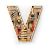 Letter V. Alphabet from the tools on the metal pegboard isolated Stock Image