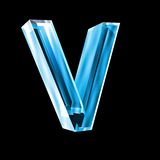 Letter V in blue glass 3D Royalty Free Stock Image