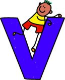 Letter V boy Royalty Free Stock Image
