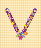 The letter V Bright floral element of colorful alphabet in  Royalty Free Stock Photography
