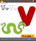 Letter v with cartoon viper. Educational Cartoon Illustration of Letter V from Alphabet with Viper Animal Character for Children Royalty Free Stock Image