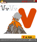 Letter v with cartoon volcano. Educational Cartoon Illustration of Letter V from Alphabet with Volcano for Children Stock Photography