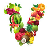 Letter V composed of different fruits with leaves Stock Photos