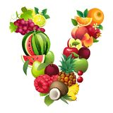 Letter V composed of different fruits with leaves Royalty Free Stock Images
