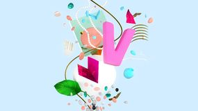 Abstract colorful composition. Letter V, conceptual composition with strange things and abstract shapes, valentine`s day unusual card, high resolution 3D render Royalty Free Stock Photos