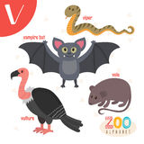 Letter V. Cute animals. Funny cartoon animals in vector.  Royalty Free Stock Photography
