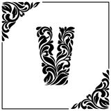 The letter V. Decorative Font with swirls and floral elements. Vintage style.  Stock Image