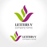 Letter V in the form of a flower or a bowl. Vector illustration Royalty Free Stock Images